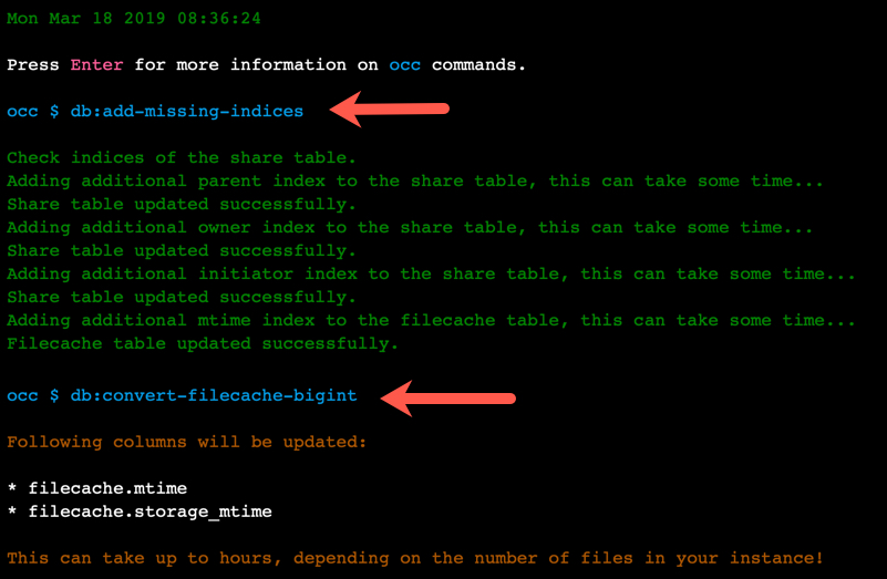 NextCloud v5.x.x Fehlermeldung occ db:add-missing-indices | occ db:convert-filecache-bigint ohne SSH Zugang beheben