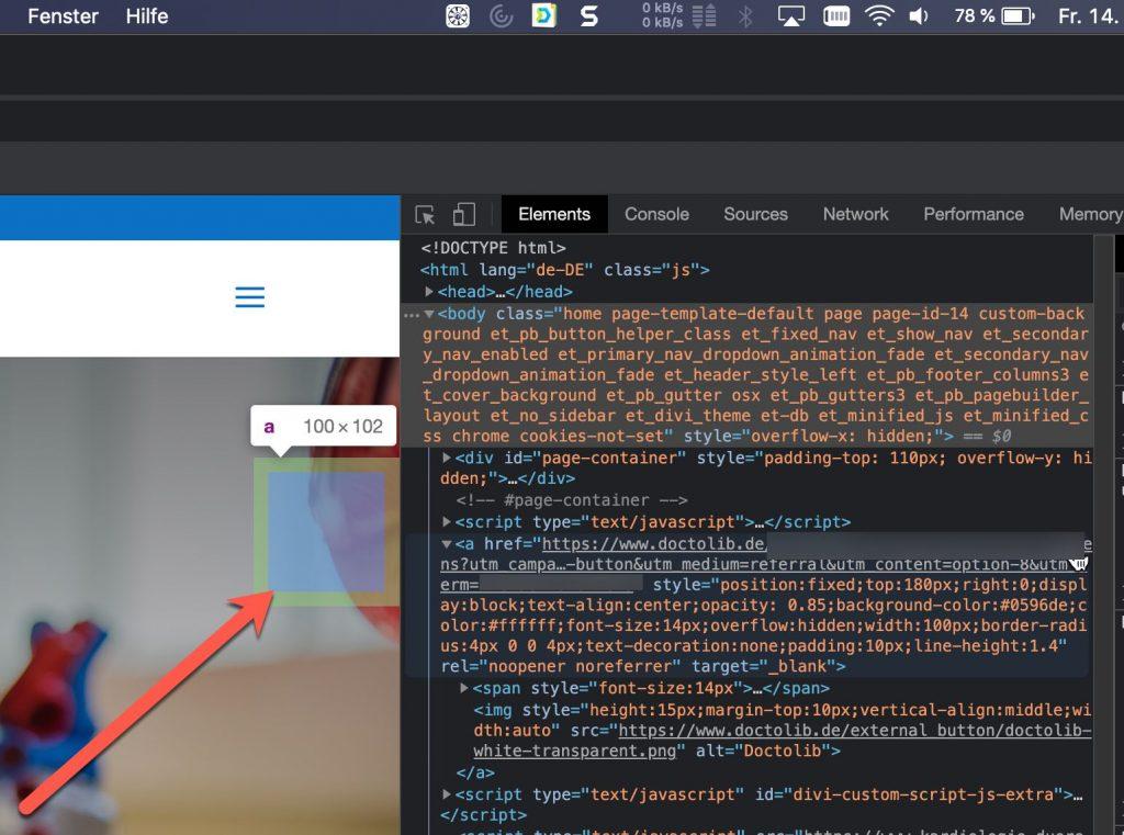 Doctolib z-Index html Code Button