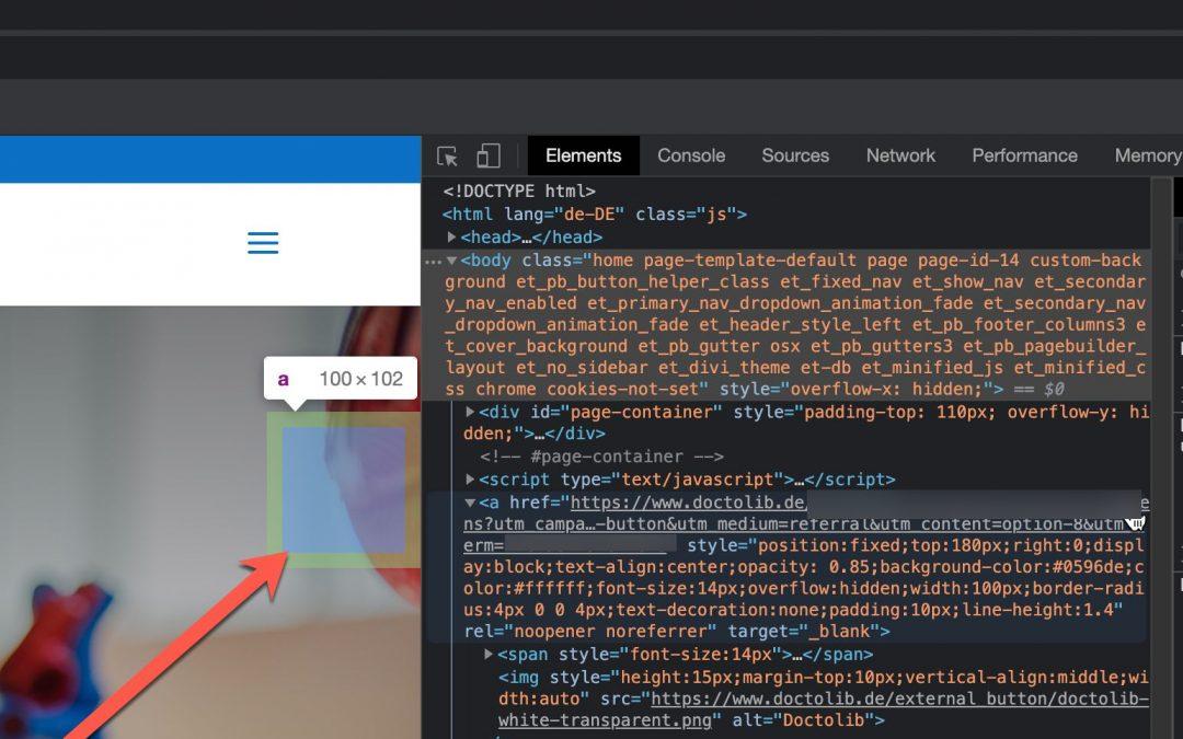 Doctolib HTML-Button Einbindung unter WordPress | Umgang mit Stapelreihenfolge alias z-Index